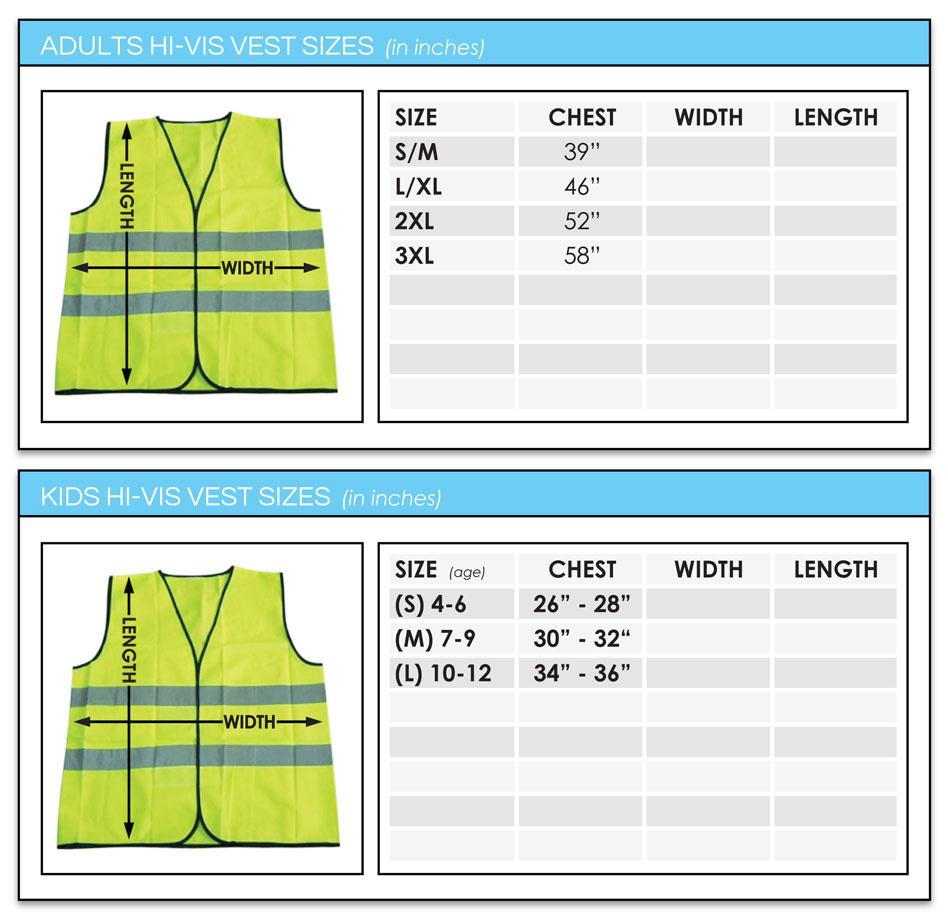 Workwear Size Chart