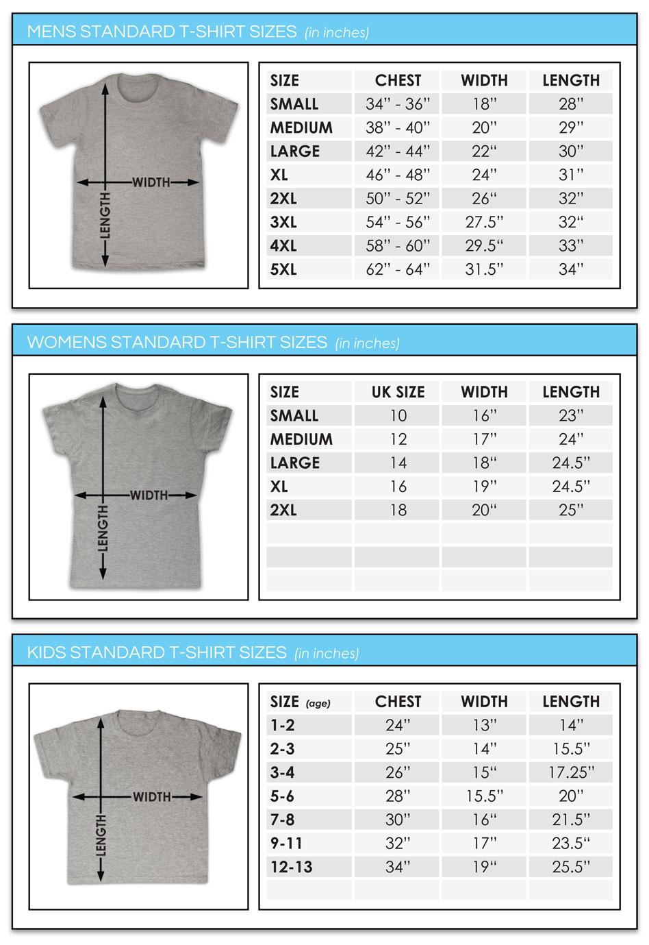 T Shirt Sizes