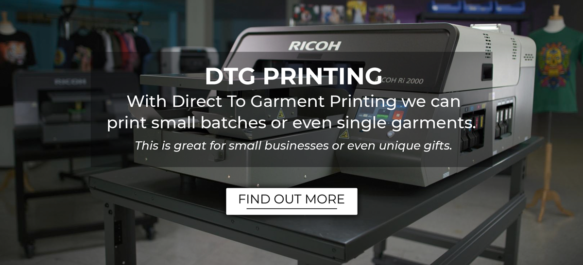 Direct To Garment printing is great for small batches and even individual items.